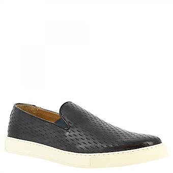 Leonardo Shoes Men's handmade slip-on laceless sneakers shoes in black calf leather