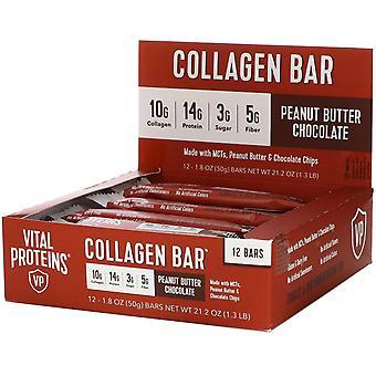 Vital Proteins, Collagen Bar, Peanut Butter Chocolate, 12 bars, 1.8 oz (50 g) Ea