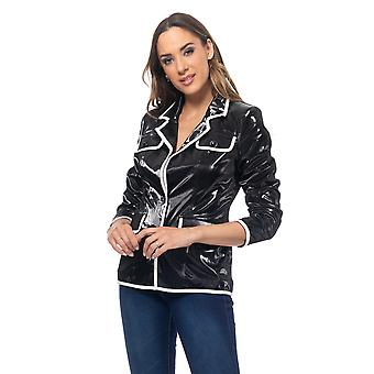 Patent leather jacket with white pipping