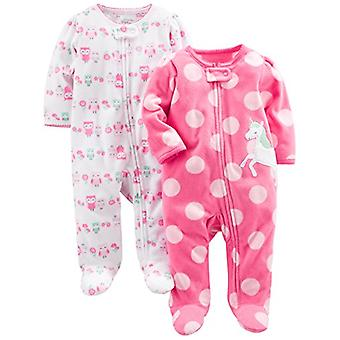 Simple Joys by Carter's Baby Girls' 2-Pack Fleece Footed Sleep and Play, Owl,...