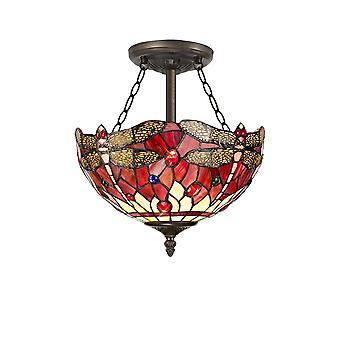 Luminosa Beleuchtung - 3 Licht Semi Flush Decke E27 mit 30cm Tiffany Schatten, lila, rosa, Kristall, alteralter antiker Messing