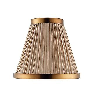 Beige And Antique Brass Six Inch Shade, E14