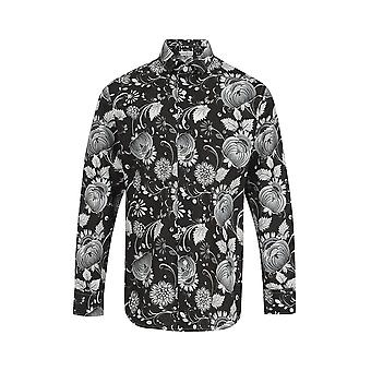 Jenson Samuel Zwart en Wit Bloemen Print Regular Fit Katoen Shirt