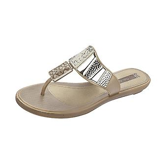 Grendha Allure Thong Womens Flip Flops / Sandals - Beige Snake