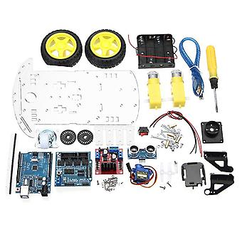 Diy L298n 2wd Smart-tracking Moteur Robot-car-kit Ultrasonic-4 Monitoring Modules 51 Control Units Switch Battery-box