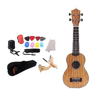 21inch Mini Zebrawood Ukulele Small Guitar Set for Beginners