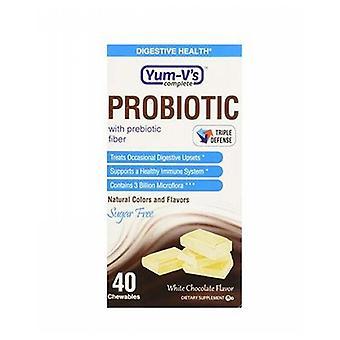 Yum-V's Probiotic with Prebiotic Fiber Sugar Free Chocolate, 40 Count