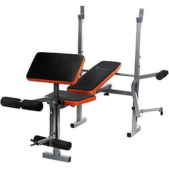 Banc de sport - pliage - multifonctionnel - entièrement réglable - pour poids - noir et orange