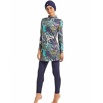 Muslim Women Swimwear Modest Patchwork Full Cover Long Sleeve Swimsuit Islamic