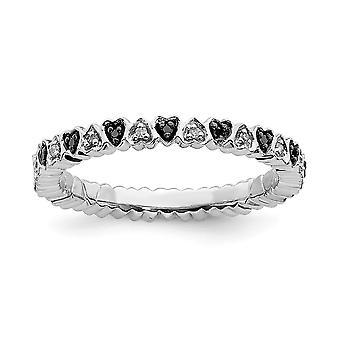 925 Sterling Silver Polished Prong ensemble à motifs Rhodium plaqué Expressions Stackable Love Hearts Noir et Blanc Dia. R. R