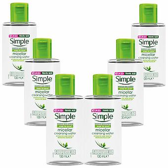 6x100ml Simple Kind to Skin Travel Size Micellar Cleansing Water Make-Up Remover