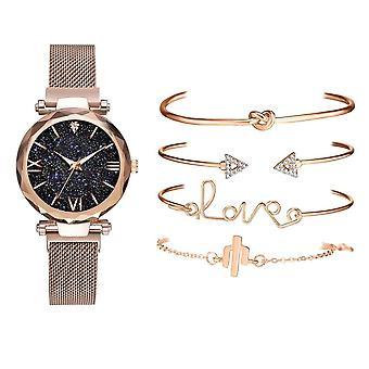 5pcsセット高級女性は磁気星空女性時計クォーツを見ます