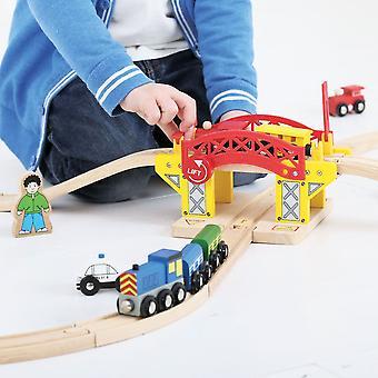 Bigjigs Lyftbrygga Trä Tåg Set Tillbehör