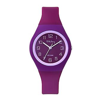 Tekday 654686 - Watch Bo tier Silicone Rose Bracelet Silicone Violet Woman