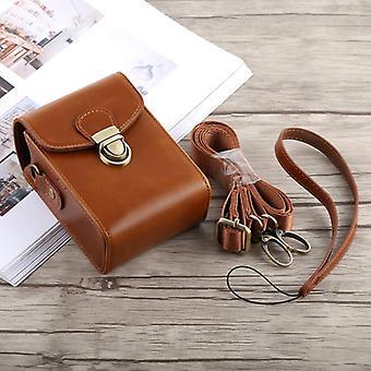 كامل هيكل الكاميرا قفل بو حقيبة حقيبة جلدية مع حزام اليد & حزام الرقبة لكانون G7X الثاني / G9X مارك الثاني، سوني RX100 / M2 (براون)