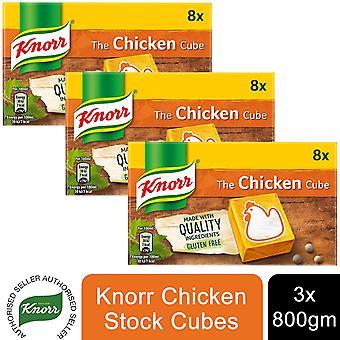 3x8s Pollo Knorr Cubetti stock 80g, Senza glutine