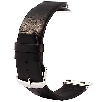 Kakapi for Apple Watch 38mm Subtle Texture Classic Buckle Genuine Leather Watchband with Connector(Black)