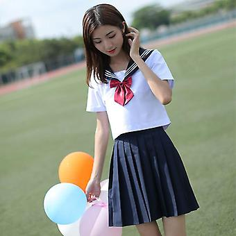 Japanese School Uniform, Korean Style White Cosplay Graduation Shirt Clothing