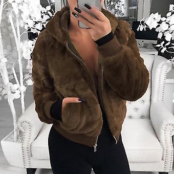 Uusi tekoturkis takki huppu korkea vyötärö muoti slim takki