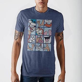 Ren & stimpy grid blue t-shirt