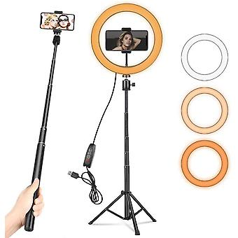 """10"""" with Adjustable Tripod Stand & Phone Holder, Dimmable Desk LED Ring Light"""
