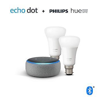 Echo dot (3a generazione), tessuto grigio erica + philips tonalità bianco smart bulb twin pack led (b22) | bluetoo