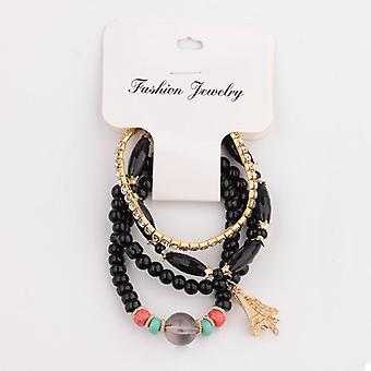 Women Bracelets Set, Charm Cz Hand Natural Stone Beads, Tassel Pendents