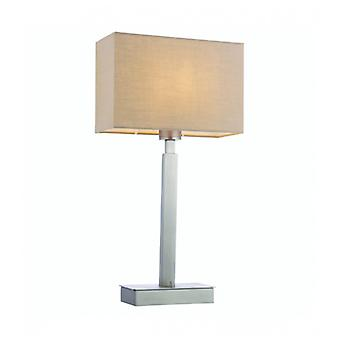 Norton Rectangular Table Lamp In Steel, Matt Nickel Plate And Taupe Fabric