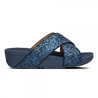 FitFlop Lulu Glitter Slide Ladies Sandals Midnight Navy