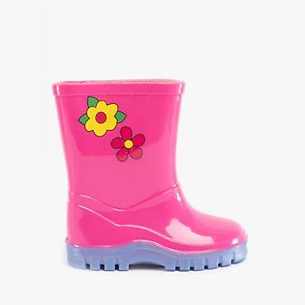 Stormwells Puddle Girls Kids Floral Wellington Boots Pink