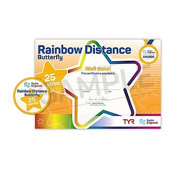 ASA zwemmen Engeland Rainbow beroerte Award - Butterfly - 25m