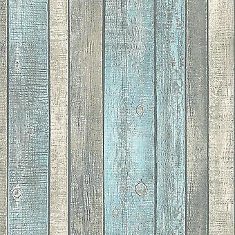 ASC Blue Wood Effect Wallpaper