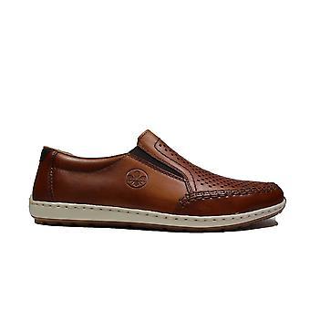 רייקר 08868-24 עור חום גברים להחליק על נעליים מזדמנים