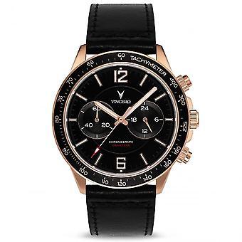 Vincero Bla-rg-p05 The Apex Rose Gold & Black Leather Men's Watch