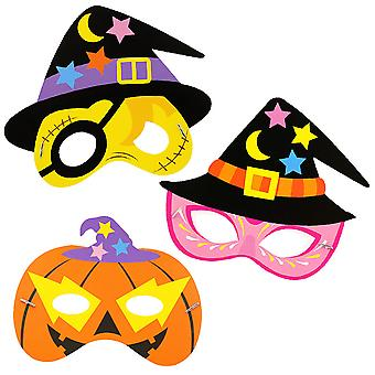3pcs Halloween Masker Papier Kinderen 's Maskerade Party Mask