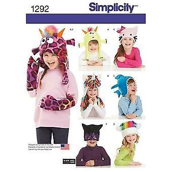 Yksinkertaisuus Ompelu kuvio 0795 1292 Lapsi tytöt Hat Mittens Kolme kokoa Koko S-M-L UC