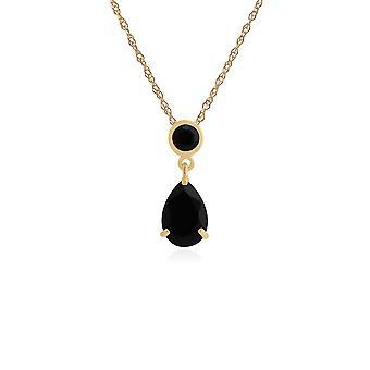 Gemondo 9ct Yellow Gold 1,88 ct svart Onyx hängande på 45cm kedja