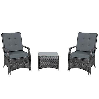 Outsunny Rattan Garden Furniture 3 PCs Sofa Chair Table Bistro Set Wicker Weave Outdoor Patio Conservatory Set w/ Cover Steel Frame