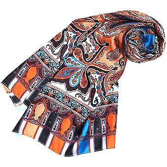 HanFei Seidenschal bedruckt Paisley Muster Schal 100% Seide 50 x 165 cm Damentuch Schaltuch 89071