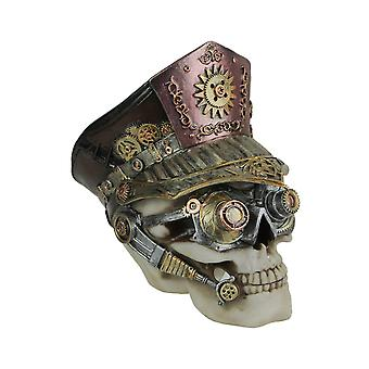 Hand Painted Steampunk Communications Officer Skull Statue 6.5 Inches High