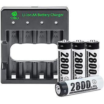 FengChun Batterieladegerät AA inkl. 4X AA Mignon 2800mWh, USB Ladestation Akku Set für