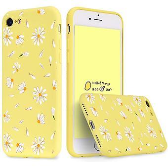 FengChun Für iPhone 7/8 Hülle Flüssig Silikon Gelb mit Gänseblümchen Muster Handyhülle Bumper