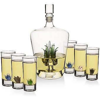 Wokex Tequila Dekanter-Set mit Agave-Dekanter und 6 Agave-Schnapsgläsern, perfekt für jede Bar oder