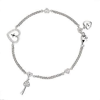 Eye Candy sterling 925 silver heart women's bracelet with 38 white zircons 19.5 cm ECJ-br0037