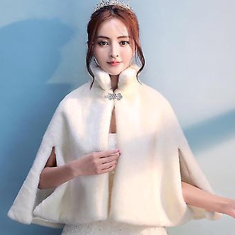 Mulheres Marfim Faux Pele Noiva Casamento Capa de Inverno Casaco de Festa Quente