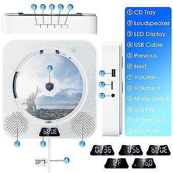 Wall Mountable Odtwarzacz CD z Bluetooth Wbudowany 2 Głośniki Hifi LCD