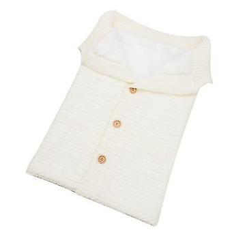 White baby kids toddler thick knit soft warm blanket swaddle sleeping bag x4586