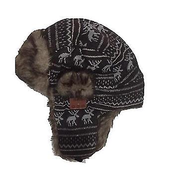 Hnedý vzor bluetooth zimné trapper ushanka vetruodolný klobúk beanie ruské klobúky pre mužov a ženy outdoorové lyžovanie šport x3393