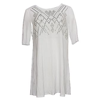 Antthony Women's Top Embellished Elbow-Sleeve Tunic White 747082