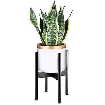 Plant Stand Bamboo Indoor Flower Pot Holder Display Potted Rack (black)